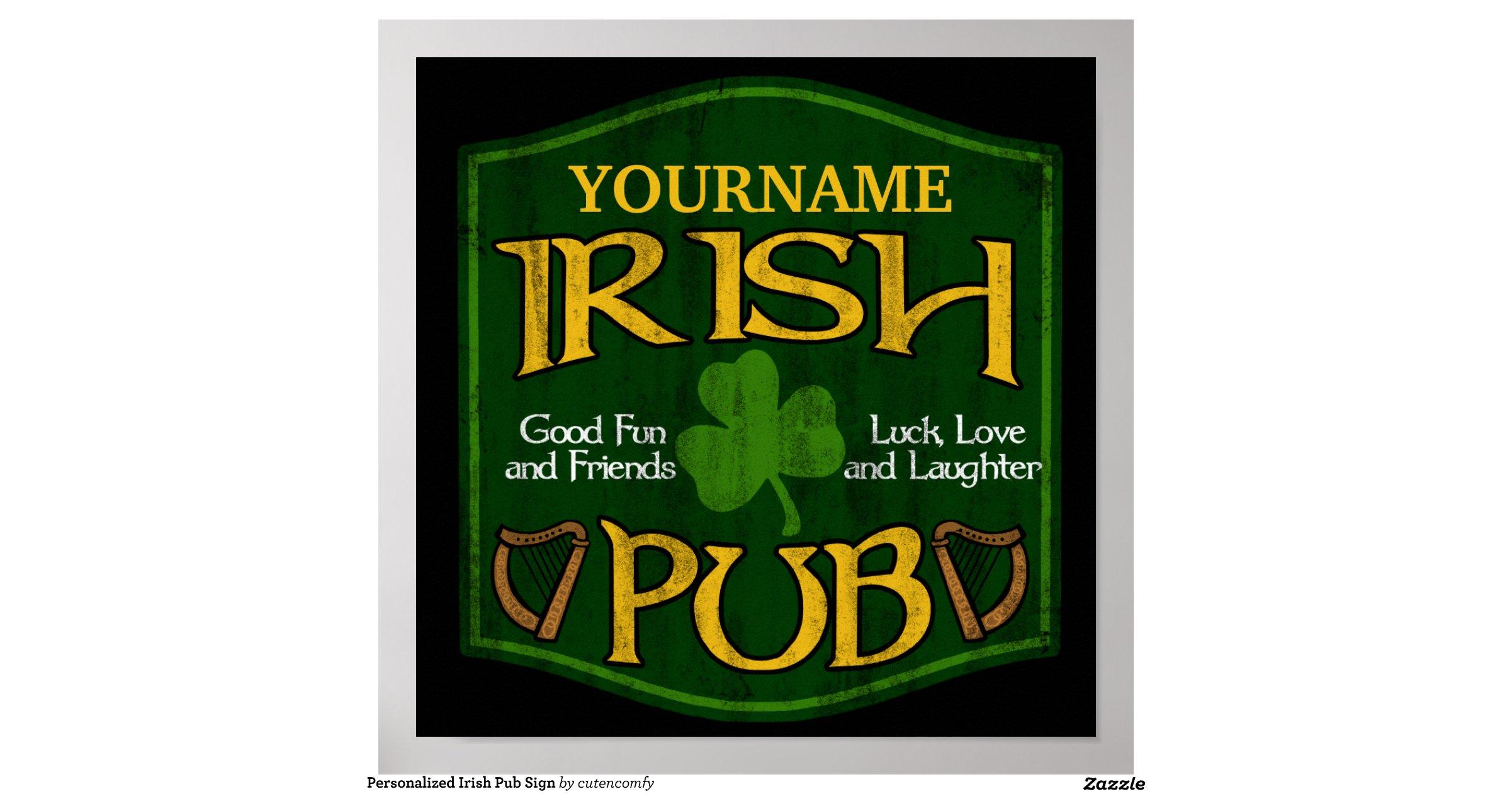 Personalized Irish Pub Sign Print Zazzle
