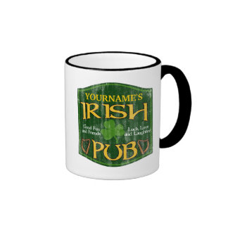 Personalized Irish Pub Sign Ringer Coffee Mug