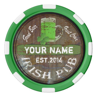 Personalized Irish Pub sign Set Of Poker Chips