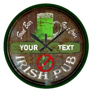 Personalized Irish pub sign Wall Clocks