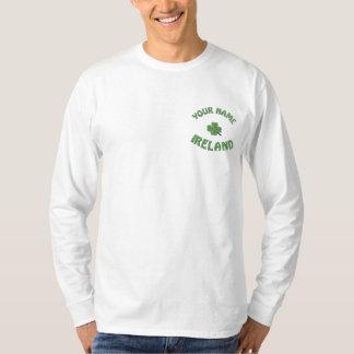 Personalized Irish shamrock Embroidered Long Sleeve T-Shirt