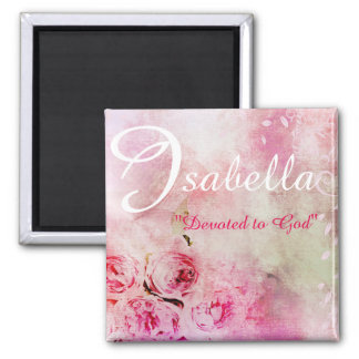 Personalized Isabella Pink Pretty Floral Magnet
