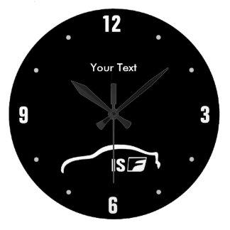 Personalized ISF white brushstroke logo Wallclocks