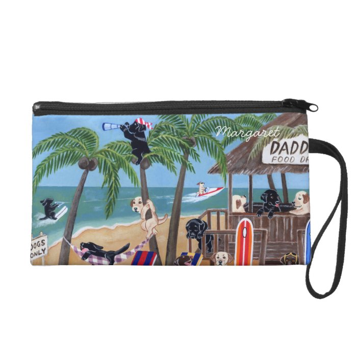 Personalized Island Summer Vacation Labradors Wristlet Purse