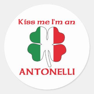 Personalized Italian Kiss Me I m Antonelli Round Stickers