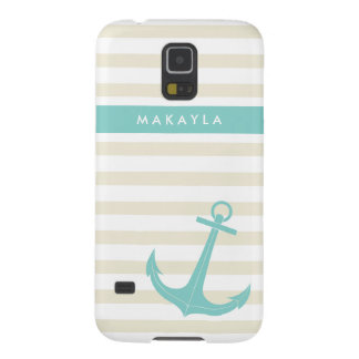 Personalized Ivory Stripes and riptide blue Anchor Case For Galaxy S5