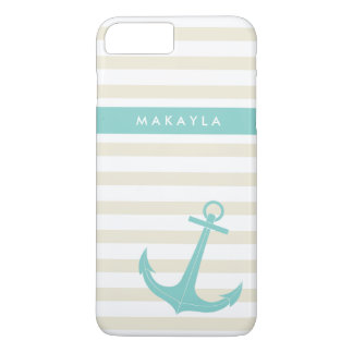Personalized Ivory Stripes and riptide blue Anchor iPhone 8 Plus/7 Plus Case