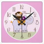 Personalized Jacana Monkey on Elephant Baby Clock