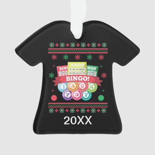 Personalized Jackpot Bingo Cards Ugly Xmas Sweater Ornament