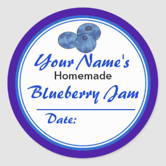 Personalized Jam Jar Labels Blueberry Jam Round Classic Round Sticker