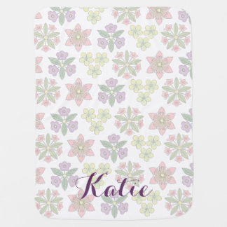Personalized Japanese Flowers Swaddle Blanket