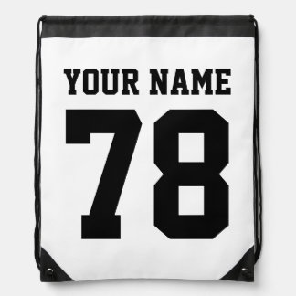 Personalized jersey number drawstring backpack