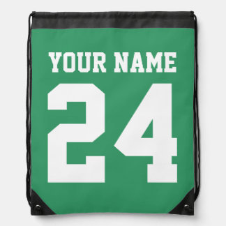 Personalized jersey number drawstring backpack bag