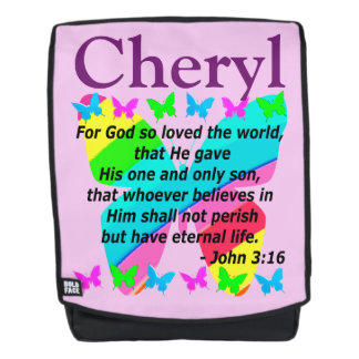 PERSONALIZED JOHN 3:16 BUTTERFLY BACKPACK