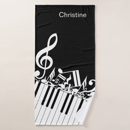 Personalized Jumbled Musical Notes and Piano Keys Bath Towel Set