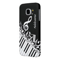 Personalized Jumbled Musical Notes and Piano Keys Samsung Galaxy S6 Cases