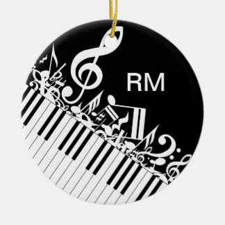 Personalized Jumbled Musical Notes and Piano Keys Ceramic Ornament