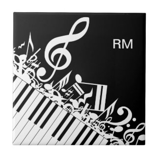 Personalized Jumbled Musical Notes and Piano Keys Ceramic Tile