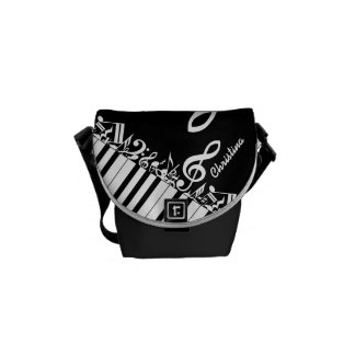 Personalized  Jumbled Musical Notes and Piano Keys Courier Bag