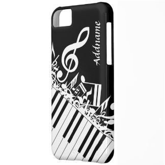 Personalized Jumbled Musical Notes and Piano Keys Cover For iPhone 5C