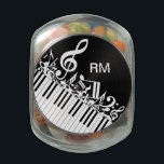 "Personalized Jumbled Musical Notes and Piano Keys Glass Jar<br><div class=""desc"">Perfect gift for the music lover with a design featuring jumbled musical notes and clef in black and white with piano keys. Easy to customize with your own text. Visit the store to see the collection of gifts and stationery featuring this musical design.</div>"
