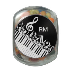 Personalized Jumbled Musical Notes And Piano Keys Glass Jars at Zazzle