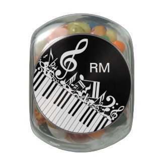 Personalized Jumbled Musical Notes and Piano Keys Glass Jars