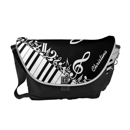 Personalized  Jumbled Musical Notes and Piano Keys Messenger Bag