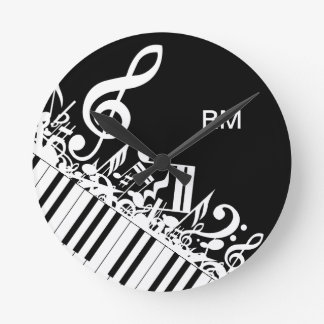 Personalized Jumbled Musical Notes and Piano Keys Round Clock