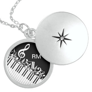 Personalized Jumbled Musical Notes and Piano Keys Round Locket Necklace