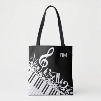 Personalized Jumbled Musical Notes and Piano Keys Tote Bag