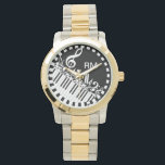 "Personalized Jumbled Musical Notes and Piano Keys Watch<br><div class=""desc"">Perfect gift for the music lover with a design featuring jumbled musical notes and clef in black and white with piano keys. Easy to customize with your own text. Visit the store to see the collection of gifts and stationery featuring this musical design.</div>"