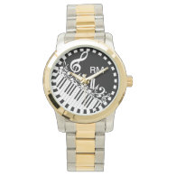 Personalized Jumbled Musical Notes and Piano Keys Wristwatch