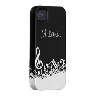Personalized Jumbled Musical Notes Black and White Case-Mate iPhone 4 Cover