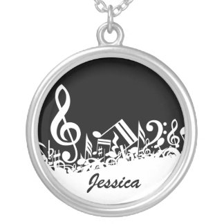Personalized Jumbled Musical Notes Black and White Pendant