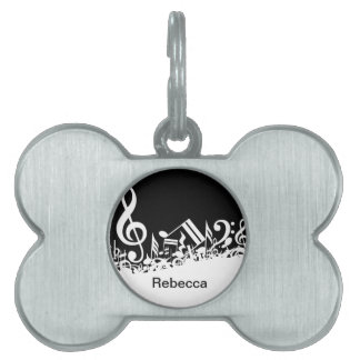 Personalized Jumbled Musical Notes Black and White Pet ID Tag