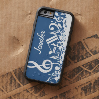 Personalized Jumbled Musical Notes Blue and White Tough Xtreme iPhone 6 Case