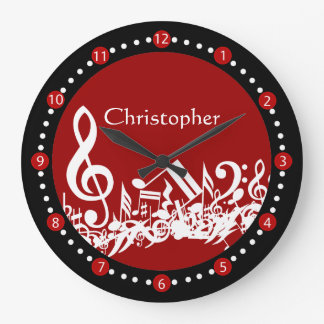 Personalized Jumbled Musical Notes White on Red Large Clock