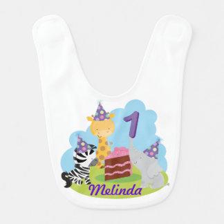 Personalized Jungle 1st Birthday Party Baby Bib