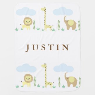 Personalized Jungle Animals Baby Blanket