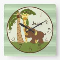 Personalized Jungle Babies Animals Nursery Clock