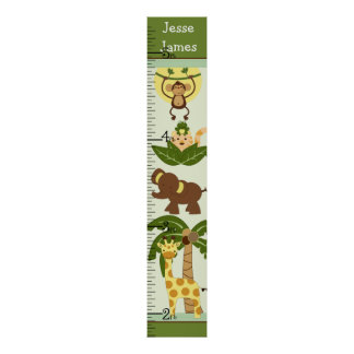 Personalized Jungle Babies Growth Chart/Poster Poster