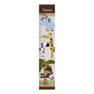Personalized Jungle Buddies Growth Chart/Poster Poster