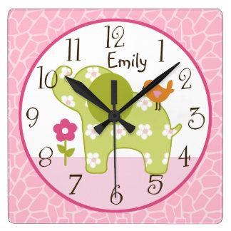 Personalized Jungle Girl Elephant  Nursery Clock
