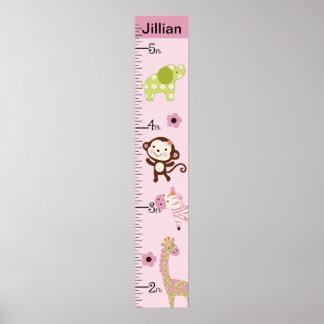 Personalized Jungle Jill/Girl Animals Growth Chart