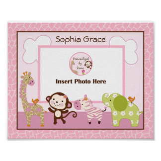 Personalized Jungle Jill/Girl Animals Photo Art Poster