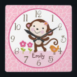 "Personalized Jungle Jill Monkey Nursery Clock<br><div class=""desc"">Up for sale is this Personalized Jungle Jill Monkey/Pink/Brown Nursery clock. Complete your child&#39;s room with this adorable clock. Make sure to personalize the clock with your child&#39;s name and birthday before purchasing!</div>"