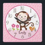 """Personalized Jungle Jill Monkey Nursery Clock<br><div class=""""desc"""">Up for sale is this Personalized Jungle Jill Monkey/Pink/Brown Nursery clock. Complete your child&#39;s room with this adorable clock. Make sure to personalize the clock with your child&#39;s name and birthday before purchasing!</div>"""