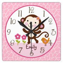 Personalized Jungle Jill Monkey Nursery Clock