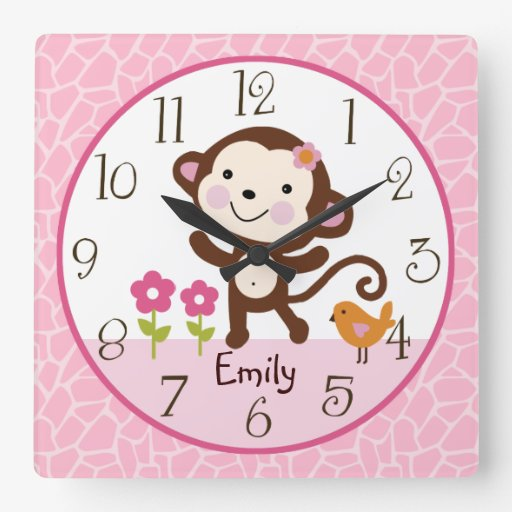Personalized Jungle Jill Monkey Nursery Clock